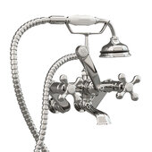 Clawfoot Tub Wall Mount British Telephone Faucet with Hand Held Shower, Polished Chrome, 13''W x 12''D x 9''H