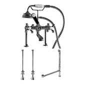 Complete Plumbing Package for Deck Mount Bathtub, Polished Chrome - Includes Classic Telephone Style Faucet and Hand Held Shower with 6'' Deck Risers, Supply Lines w/ Shut Off valves and Drain Assembly