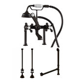 Complete Plumbing Package for Deck Mount Bathtub, Oil Rubbed Bronze - Includes Classic Telephone Style Faucet and Hand Held Shower with 6'' Deck Risers, Supply Lines w/ Shut Off valves and Drain Assembly