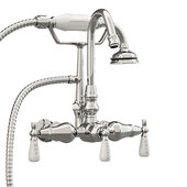 Clawfoot Tub Wall Mount English Telephone Gooseneck Faucet with Hand Held Shower, Polished Chrome, 13''W x 12''D x 9''H