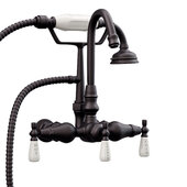 Clawfoot Tub Wall Mount English Telephone Gooseneck Faucet with Hand Held Shower, Oil Rubbed Bronze, 13''W x 12''D x 9''H