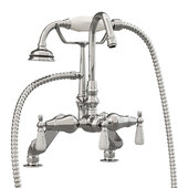 Clawfoot Tub Deck Mount Porcelain Lever English Telephone Gooseneck Brass Faucet with Hand Held Shower, Polished Chrome, 13''W x 12''D x 9''H