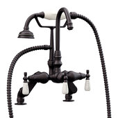 Clawfoot Tub Deck Mount Porcelain Lever English Telephone Gooseneck Brass Faucet with Hand Held Shower, Oil Rubbed Bronze, 13''W x 12''D x 9''H