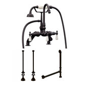 Complete Plumbing Package for Deck Mount Bathtub, Oil Rubbed Bronze - Includes English Telephone Gooseneck Faucet w/ Hand Held Shower, Supply Lines w/ Shut Off Valves, Drain and Overflow Assembly