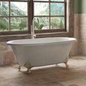 67'' White Cast Iron Double Ended Clawfoot Bathtub without Faucet Holes, Brushed Nickel