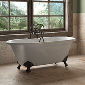 67'' White Cast Iron Double Ended Clawfoot Bathtub with 7'' Deck Mount Faucet Drillings, Oil Rubbed Bronze