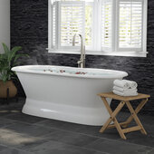 66'' White Cast Iron Double Ended Pedestal Bathtub without Faucet Holes and Complete Brushed Nickel Plumbing Package, Modern Freestanding Gooseneck Faucet with Shower Wand