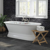 66'' White Cast Iron Double Ended Pedestal Bathtub without Faucet Holes and Complete Brushed Nickel Plumbing Package, Freestanding British Telephone Faucet with Hand Held Shower