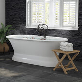 66'' White Cast Iron Double Ended Pedestal Bathtub with 7'' Deck Mount Faucet Drillings and Complete Oil Rubbed Bronze Plumbing Package, Deckmount British Telephone Faucet & Hand Held Shower with 6'' Risers