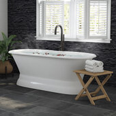 66'' White Cast Iron Double Ended Bathtub without Faucet Holes