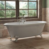 67'' White Cast Iron Double Ended Clawfoot Bathtub with 7'' Deck Mount Faucet Drillings and Complete Polished Chrome Plumbing Package, Deckmount British Telephone Faucet & Hand Held Shower with 2'' Risers