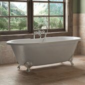 67'' White Cast Iron Double Ended Clawfoot Bathtub with 7'' Deck Mount Faucet Drillings and Complete Polished Chrome Plumbing Package, Deckmount British Telephone Faucet & Hand Held Shower with 6'' Risers