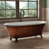 67'' Cast Iron Double Ended Clawfoot Bathtub with no Faucet Holes, Faux Copper Bronze Exterior Finish and Oil Rubbed Bronze Feet