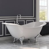 72'' White Cast Iron Double Ended Clawfoot Slipper Bathtub without Faucet Holes and Complete Polished Chrome Plumbing Package, Modern Freestanding Gooseneck Faucet with Shower Wand