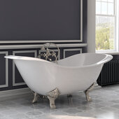 72'' White Cast Iron Double Ended Clawfoot Slipper Bathtub without Faucet Holes and Complete Brushed Nickel Plumbing Package, Freestanding British Telephone Faucet with Hand Held Shower