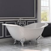 72'' White Cast Iron Double Ended Clawfoot Slipper Bathtub without Faucet Holes and Complete Polished Chrome Plumbing Package, Freestanding British Telephone Faucet with Hand Held Shower