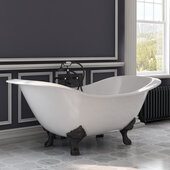 72'' White Cast Iron Double Ended Clawfoot Slipper Bathtub without Faucet Holes and Complete Oil Rubbed Bronze Plumbing Package, Freestanding British Telephone Faucet with Hand Held Shower
