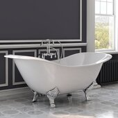72'' White Cast Iron Double Ended Clawfoot Slipper Bathtub without Faucet Holes and Complete Polished Chrome Plumbing Package, Freestanding English Telephone Gooseneck Faucet with Hand Held Shower