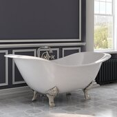 72'' White Cast Iron Double Ended Clawfoot Slipper Bathtub with 7'' Deck Mount Faucet Drillings and Complete Brushed Nickel Plumbing Package, Deckmount British Telephone Faucet & Hand Held Shower with 2'' Risers