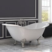 72'' White Cast Iron Double Ended Clawfoot Slipper Bathtub with 7'' Deck Mount Faucet Drillings, Brushed Nickel