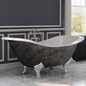 72'' Cast Iron Double Ended Clawfoot Slipper Bathtub with 7'' Deck Mount Faucet Drillings, Scorched Platinum Exterior Finish and Polished Chrome Feet