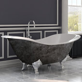 72'' Cast Iron Double Ended Clawfoot Slipper Bathtub with no Faucet Holes, Scorched Platinum Exterior Finish and Polished Chrome Feet