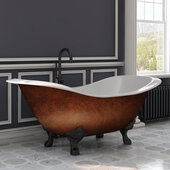 72'' Cast Iron Double Ended Clawfoot Slipper Bathtub with no Faucet Holes, Faux Copper Bronze Exterior Finish and Oil Rubbed Bronze Feet