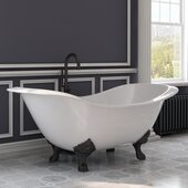 72'' White Cast Iron Double Ended Clawfoot Slipper Bathtub without Faucet Holes, Oil Rubbed Bronze