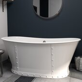 67'' White Cast Iron Double Slipper Skirted Bathtub without Faucet Holes