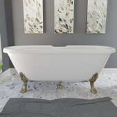 69'' Dolomite Mineral Composite Double Ended Clawfoot Tub with No Faucet Holes, Antique Brass Feet and Drain Assembly, 69''W x 31-1/2''D x 23''H