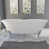 69'' Dolomite Mineral Composite Double Ended Clawfoot Tub with No Faucet Holes, Polished Chrome Feet and Drain Assembly, 69''W x 31-1/2''D x 23''H