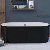 Black and White 71'' Engineered Stone Free Standing Double Ended Soaking Tub with Chrome Drain and Overflow, 71-1/4'' W x 33-1/2'' D x 23-1/2'' H