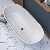 62'' Engineered Stone Freestanding Double Slipper Soaking Tub with Chrome Drain, 62-1/4'' W x 30-1/4'' D x 25'' H