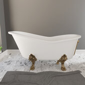62'' Dolomite Mineral Composite Clawfoot Slipper Tub with Antique Brass Feet and Drain Assembly, 62''W x 30''D x 24''H