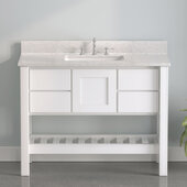 USA Patriot 48'' W White Single Sink Bathroom Vanity with Olympus Composite Countertop, 48'' W x 22'' D x 36'' H