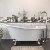 62'' White Cast-Iron Slipper Clawfoot Bathtub without Faucet Holes and Complete Brushed Nickel Plumbing Package, Modern Freestanding Gooseneck Faucet with Shower Wand