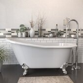 62'' White Cast-Iron Slipper Clawfoot Bathtub without Faucet Holes and Complete Polished Chrome Plumbing Package, Modern Freestanding Gooseneck Faucet with Shower Wand