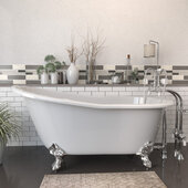 62'' White Cast Iron Slipper Clawfoot Bathtub without Faucet Holes and Complete Polished Chrome Plumbing Package, Freestanding English Telephone Gooseneck Faucet with Hand Held Shower