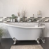 62'' White Cast Iron Slipper Clawfoot Bathtub with 7'' Deck Mount Faucet Drillings and Complete Brushed Nickel Plumbing Package, Deckmount British Telephone Faucet & Hand Held Shower with 2'' Risers