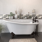 62'' White Cast Iron Slipper Clawfoot Bathtub with 7'' Deck Mount Faucet Drillings and Complete Oil Rubbed Bronze Plumbing Package, Deckmount British Telephone Faucet & Hand Held Shower with 2'' Risers