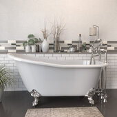 62'' White Cast Iron Slipper Clawfoot Bathtub with 7'' Deck Mount Faucet Drillings and Complete Brushed Nickel Plumbing Package, Deckmount British Telephone Faucet & Hand Held Shower with 6'' Risers
