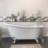 62'' White Cast Iron Slipper Clawfoot Bathtub with 7'' Deck Mount Faucet Drillings and Complete Polished Chrome Plumbing Package, Deckmount British Telephone Faucet & Hand Held Shower with 6'' Risers