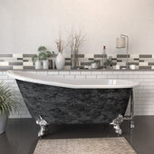 67'' Cast Iron Slipper Clawfoot Bathtub with 7'' Deck Mount Faucet Drillings, Scorched Platinum Exterior Finish and Polished Chrome Feet