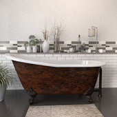 67'' Cast Iron Slipper Clawfoot Bathtub with 7'' Deck Mount Faucet Drillings, Faux Copper Bronze Exterior Finish and Oil Rubbed Bronze Feet
