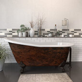 67'' Cast Iron Slipper Clawfoot Bathtub with no Faucet Holes, Faux Copper Bronze Exterior Finish and Oil Rubbed Bronze Feet
