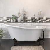 62'' White Cast Iron Slipper Clawfoot Bathtub without Faucet Holes, Oil Rubbed Bronze
