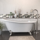 67'' White Cast-Iron Slipper Clawfoot Bathtub without Faucet Holes and Complete Brushed Nickel Plumbing Package, Modern Freestanding Gooseneck Faucet with Shower Wand