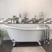 67'' White Cast-Iron Slipper Clawfoot Bathtub without Faucet Holes and Complete Polished Chrome Plumbing Package, Freestanding British Telephone Faucet with Hand Held Shower