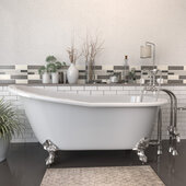 67'' White Cast Iron Slipper Clawfoot Bathtub with 7'' Deck Mount Faucet Drillings and Complete Oil Rubbed Bronze Plumbing Package, Deckmount British Telephone Faucet & Hand Held Shower with 2'' Risers