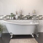 67'' White Cast Iron Slipper Clawfoot Bathtub with 7'' Deck Mount Faucet Drillings and Complete Polished Chrome Plumbing Package, Deckmount British Telephone Faucet & Hand Held Shower with 6'' Risers